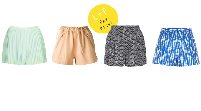 Left to Right L+F Pick: Top Shop Pleated Short, Acne Studios Leather Short , Monsoon Narelle Short, River Island Blue Print Short