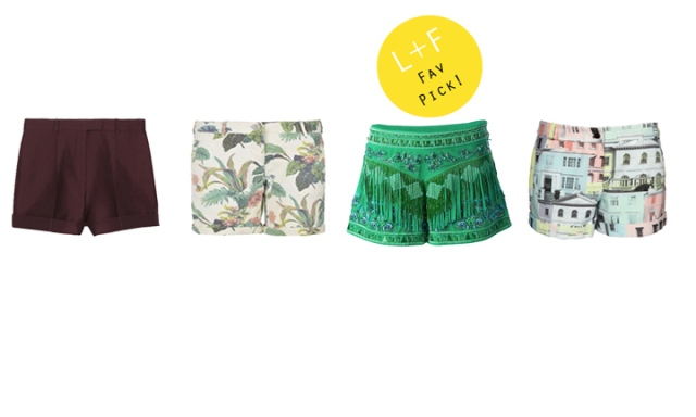 Small booty  Left to Right  Valentino Pleated Cotton and Silk short, Maison Scotch Printed Short,  Emilio Pucci Embellished Fringe Short,  Ted Baker Short