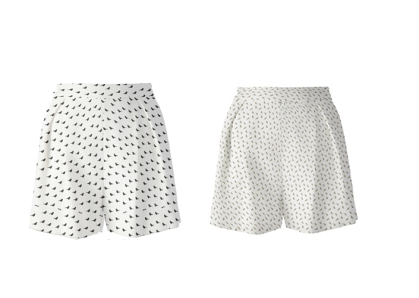 Back bird shorts with finch print shorts, pleated and high waist